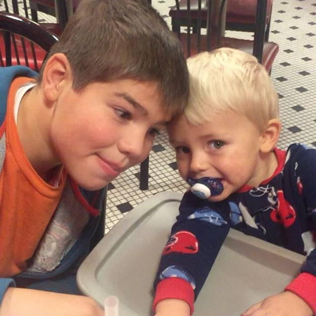 Out to eat on a rainy night with two of the cutest fellas I…