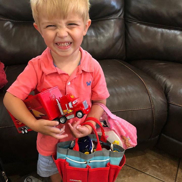 When Carson comes to Grannies he comes toting all of his special toys! Cracks…